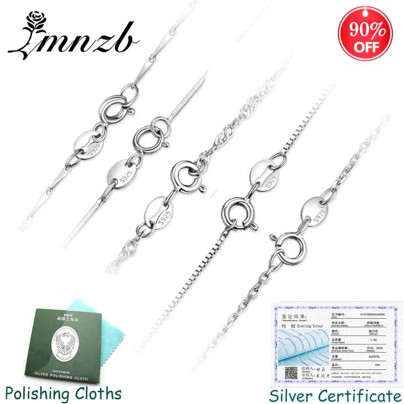 Have Certificate! 100% Original 925 Solid Silver Chains Necklaces For Women Fit Pendant Charm Fine Jewelry & Accessories