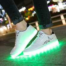Large Size Children Casual Shoes With Lights USB Charge Luminous Sneakers for Ki