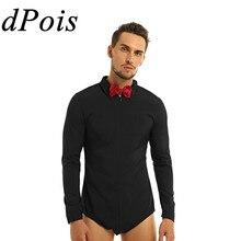 メンズジッパーラテンダンスドレスシャツとボウタイワンピースロンパースシャツ社交ダンス男性ロングスリーブボディスーツシャツ