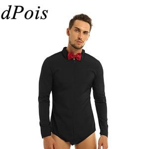 Image 1 - Mens Zipper Latin Dance Dress Shirt with Bowtie One piece Romper Shirts Ballroom Dance Wear for Men Long Sleeves Bodysuit Shirts