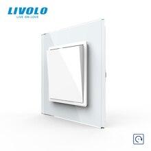 Livolo メーカー eu 標準高級 4 色クリスタルガラスパネル、 1way プッシュリセットスイッチは、スイッチ、なしロゴ