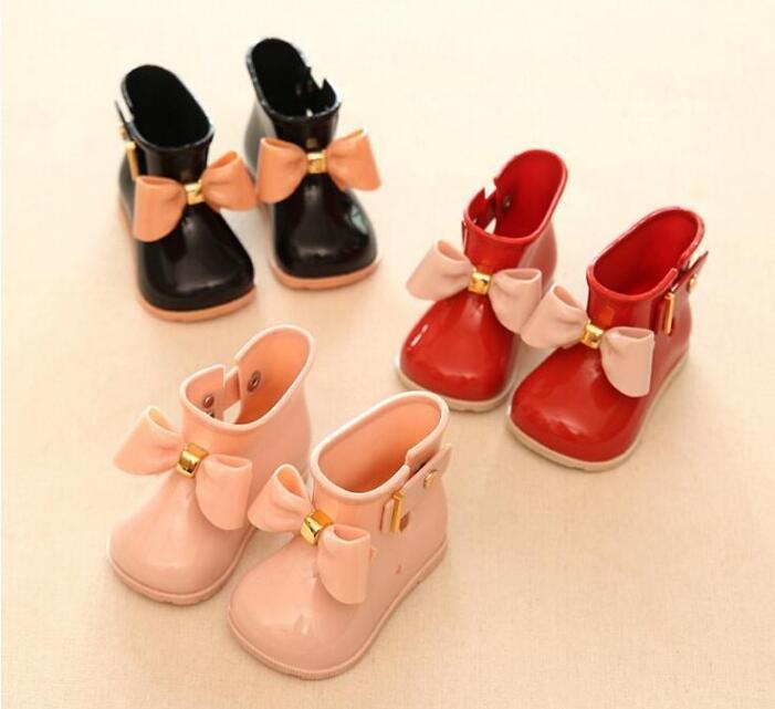 Детские ботинки желе для маленьких девочек милые дождевые ботинки с бантом красные/розовые/Черные Водонепроницаемые мягкие ботильоны детс...