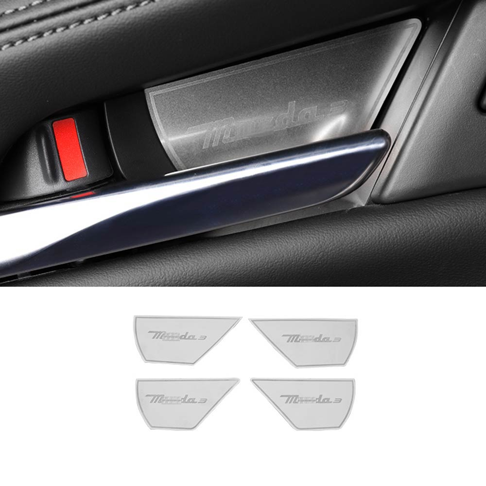 STAINLESS STEEL INTERIOR DOOR HANDLE COVER GARNISH FOR MAZDA 3 <font><b>MAZDA3</b></font> <font><b>2019</b></font> 2020 ACCESSORIES CAR STYLING image
