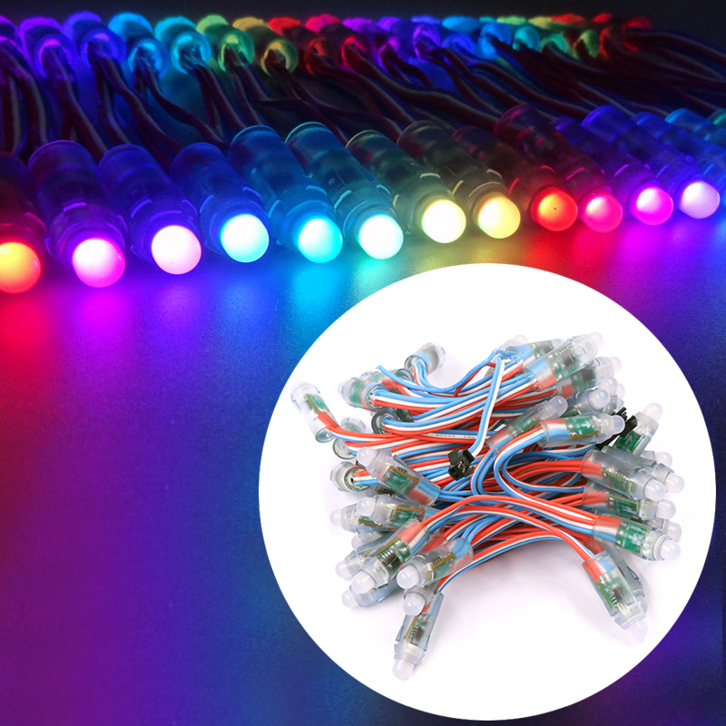 50pcs WS2811 RGB Led Module 2811 DC5V Diffused Addressable Pixel Nodes 12mm Waterproof IP68 Wholesale