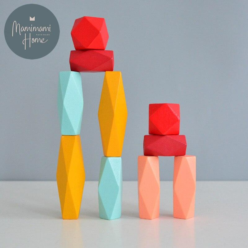 Criativo montessori brinquedo para o bebê crianças brinquedo de madeira arco-íris pedra estilo nórdico blocos de construção jenga educação precoce brinquedos para criança