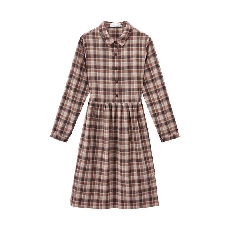 INMAN , осень 2019, Новое поступление, Ретро стиль, для молодых девушек, с отложным воротником, в клетку, свободное, подходит ко всему, женское платье