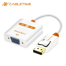 Cabletime DisplayPort Ke VGA 1080P Adaptor Dp untuk VGA Converter Display Port VGA M/F untuk MacBook Proyektor Laptop HDTV Kamera C082(China)