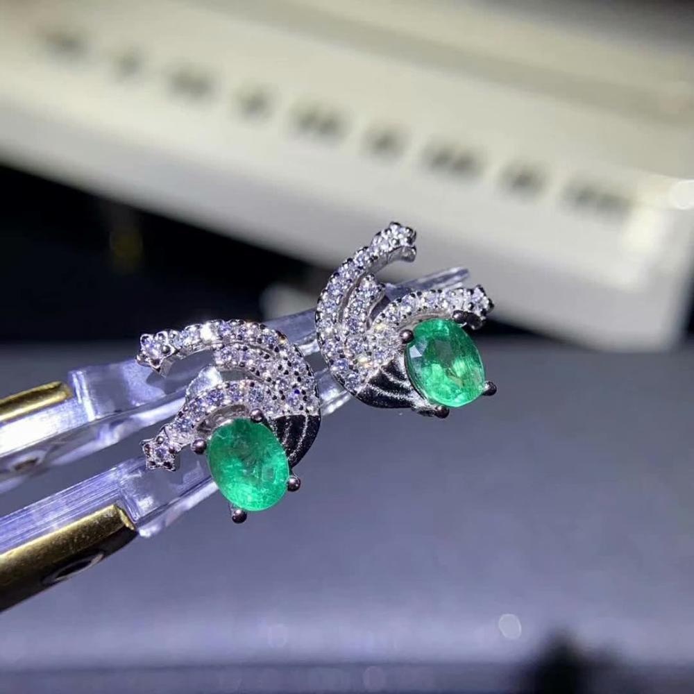 925 sterling silver real Natural green Emerald Stud Earrings fine Jewelry gift women wedding plant new 4*5mm de04058167agml