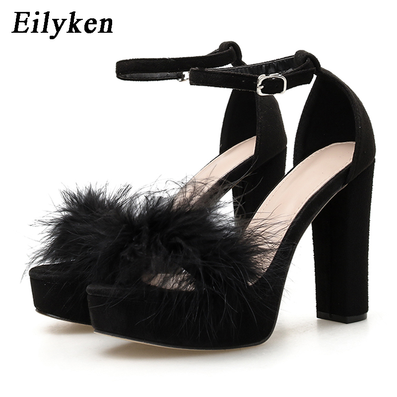 Eilyken Women's Summer Ankle Buckle Strap Sandals Fashion Feather Furry Platform Design Open Toe High Heel Party Dance Shoes