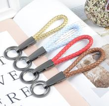 8pcs/Package Fashion Car Keychain Hand-knitted Rope Pointed Double-loop Key Rings Unisex Hanging Holder Accessories