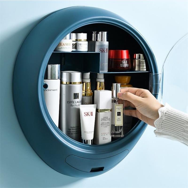 Wall Hanging Makeup Storage Box Drawer Type Bathroom Makeup Organizer Plastic Transparent Punch Free Dustproof Cosmetic Box