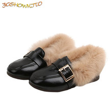 Children Leather Shoes With Warm Cotton Boys Girls Loafers With Thick Soft Furry Fur Classic Kids Flat Loafers With Buckle 21-36(China)