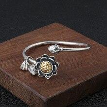 цены Genuine 925 Sterling Silver Retro Rotating Lotus Fashion Ladies Opening Bracelet Thai Silver Jewelry Party Gift