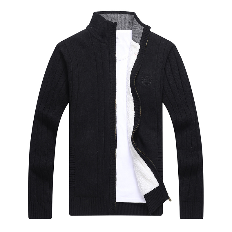 Mens Zipper Fashion Sweater Slim Fit Jumpers Knitwear Spring Autumn Cardigan Winter Casual Thick Warm Fashion Brand Clothing