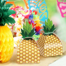 12pcs/pack DIY Hawaii Pineapple Candy Gift Bags Paper Box Wedding Birthday Favors Summer Party Decoration