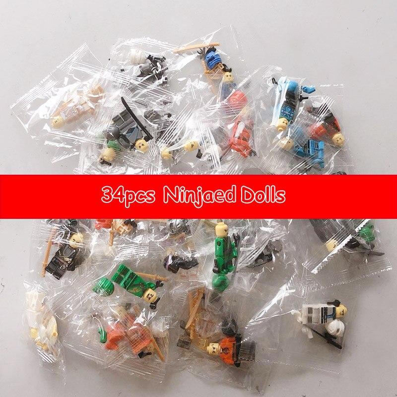 34 pièces/lot Ninjagoed Kai Cole Jay Zane Lloyd Nya figurines compatibles avec des blocs de construction pour enfants jouet brique cadeau