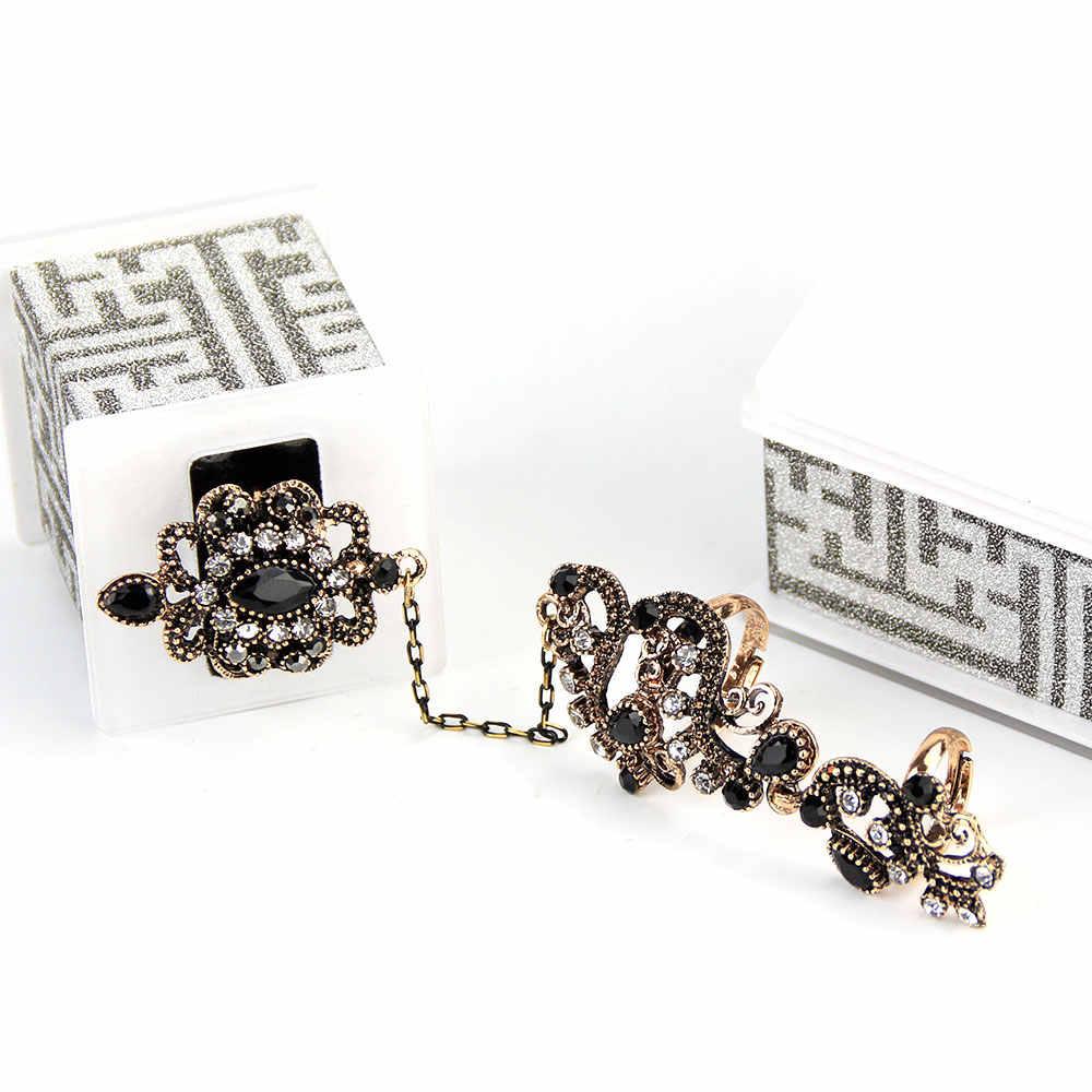 Vintage Thổ Nhĩ Kỳ Xanh Dương Hoa Ngón Tay Nhẫn Nhựa Trang Sức Có Thể Điều Chỉnh Kích Thước Nữ Cổ Màu Vàng Arabesque Maroc Nhẫn
