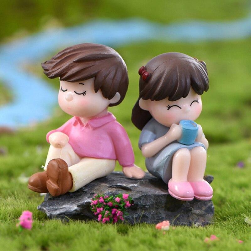 2個ミニ少年少女モデル置物結婚式の人形ミニチュアカップル家の庭の装飾女の子のおもちゃdiyアクセサリーギフト|フィギュア & ミニチュア|   -