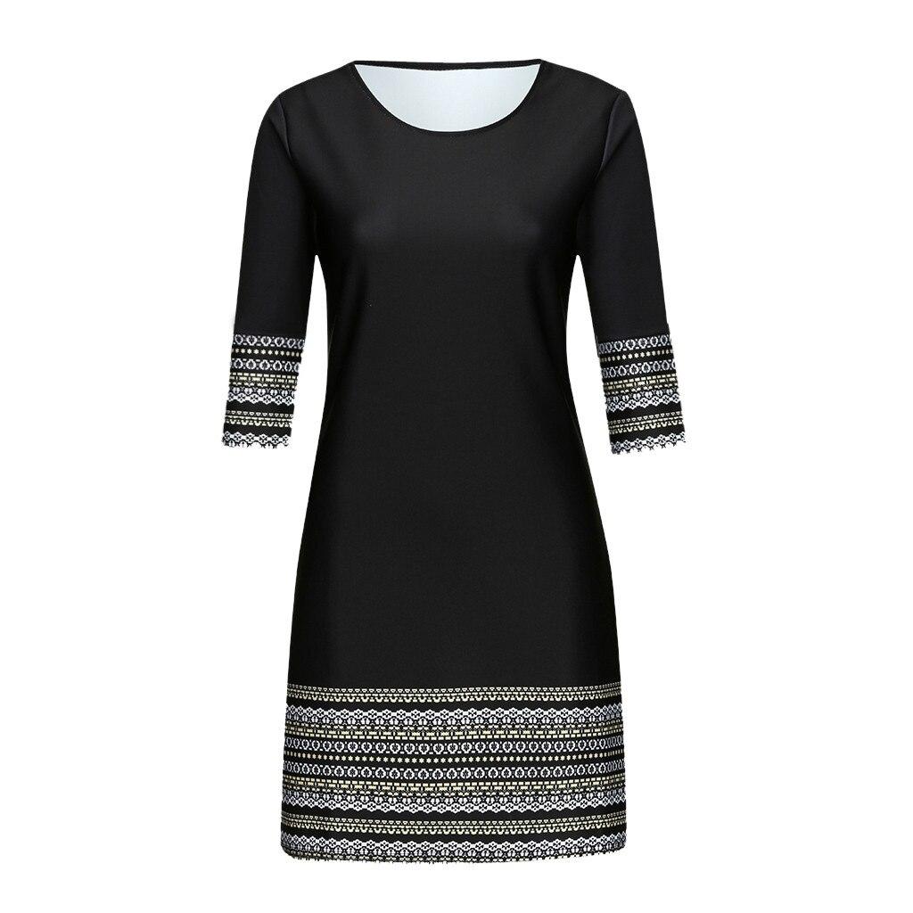 vestido de mujer Fashion Women s Casual Vintage Elegant Splice Middle Sleeve Easy Mini Dress femme