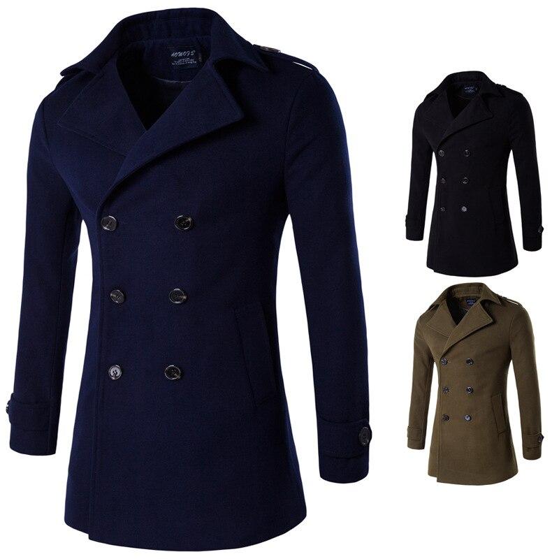 Autumn Winter Woolen Coat Male Long Jacket Cotton Thick Warm Men Overcoat