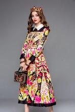 Baogarret 2019 Fashion Runway Autumn Dress Womens Long Sleeve Multicolor Floral Print Belted Midi Elegant Vintage