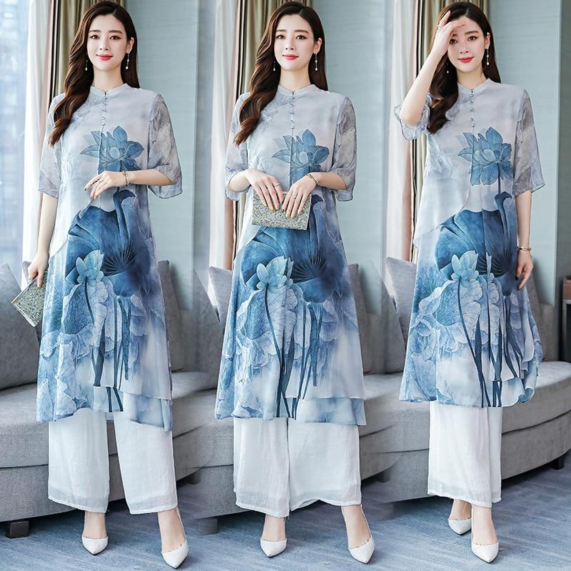2019 Vietnam Aodai Vietnam Clothing Dress Asian Clothes Chinoise Modern Cheongsam Folk Style Floral Print Ao Dai Set
