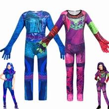 패션 자손 3 코스프레 에비 의상 소녀를위한 말 제복 할로윈 카니발 의상 드레스 아이 의상 점프 슈트