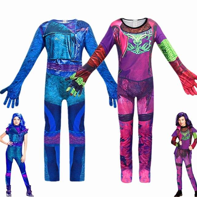 Costume Cosplay Evie pour filles, 3 Descendants de mode, robe pour filles, uniforme mal, Costume de carnaval dhalloween, combinaisons pour enfants