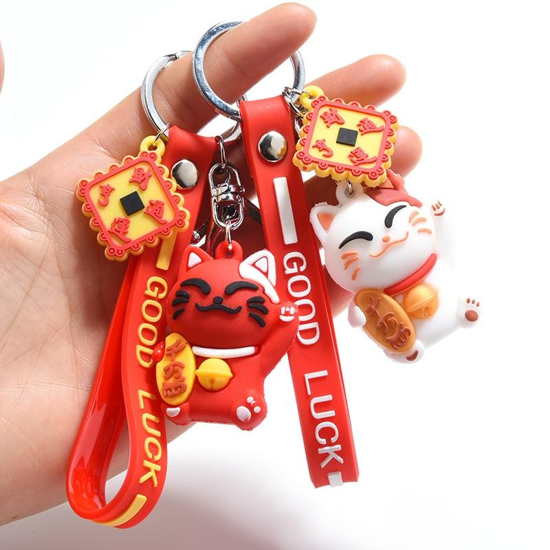 Cute Red Lucky Cat Key Chain PVC Lanyard Animal Doll Keychain Maneki Neko Car Keyring Bag Pendant Souvenir Gift Porte Clef