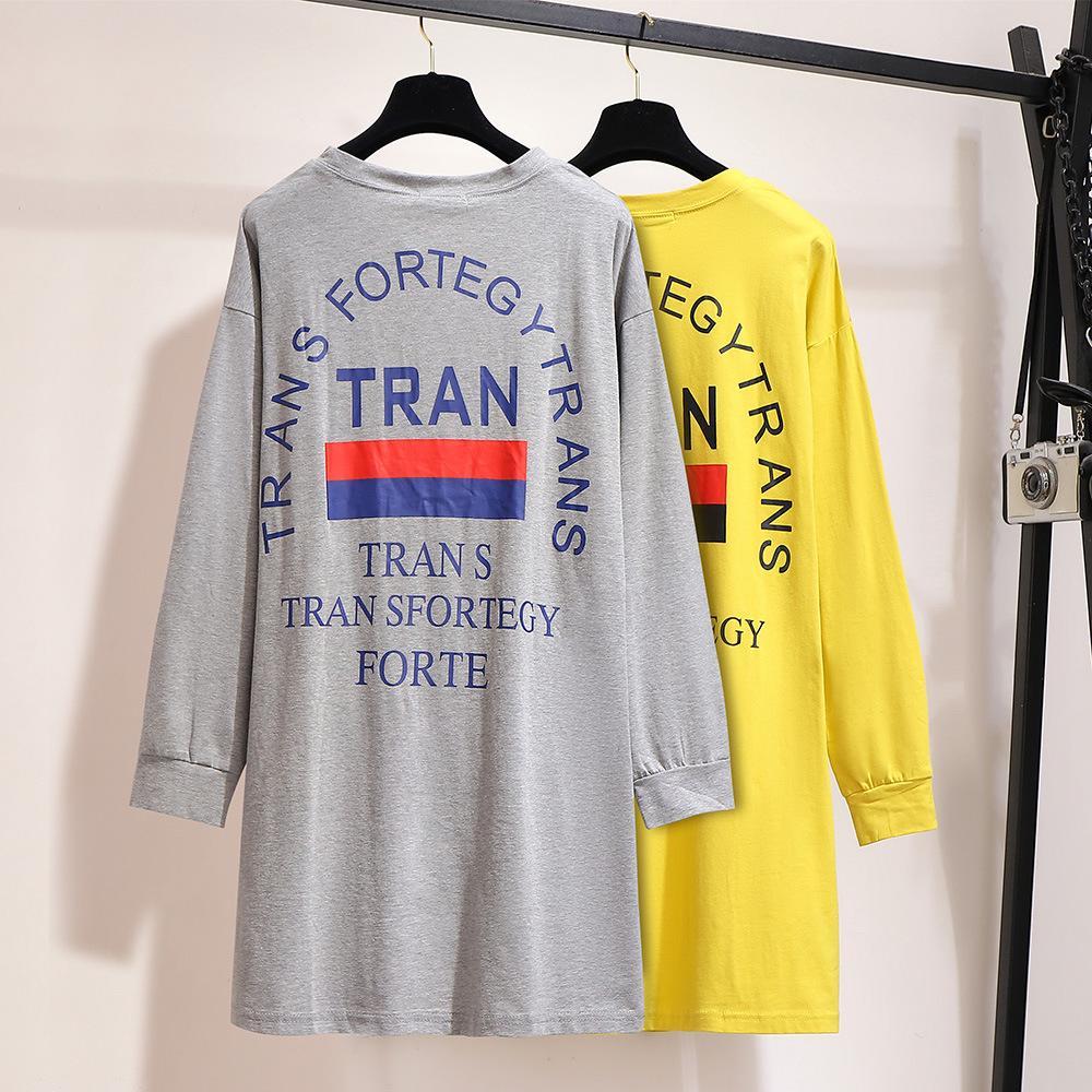 Женская футболка большого размера 5XL 6XL, осенние свободные длинные топы с буквенным принтом, Повседневная футболка с длинным рукавом размер