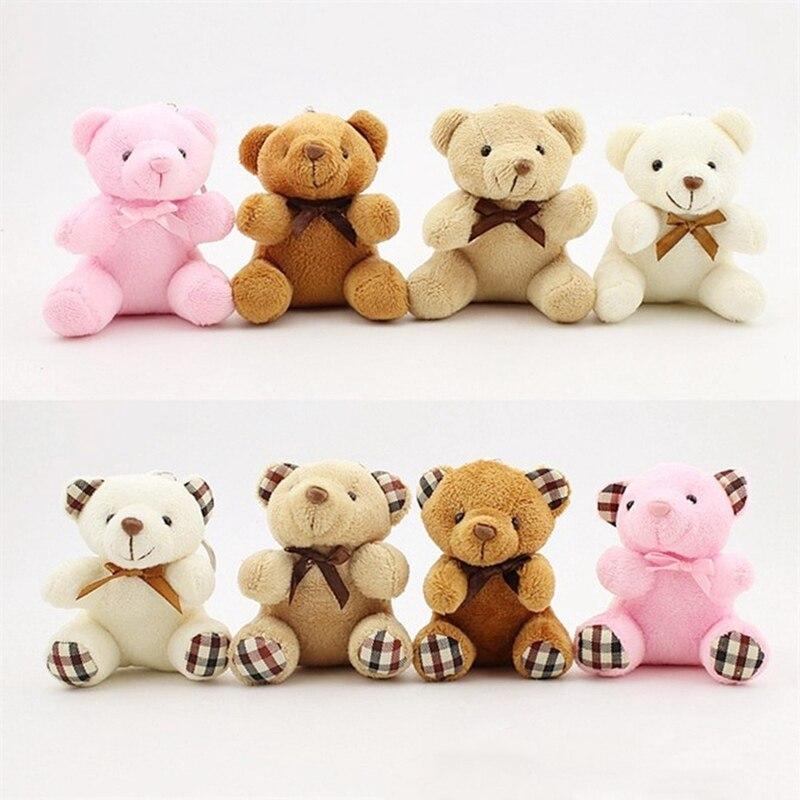8cm 10cm Stuffed Animals Fluffy Bow Tie Bear Teddy Bear Cute Bag Keychain Car Key Holder For Pendant Kid Doll Plush Toy