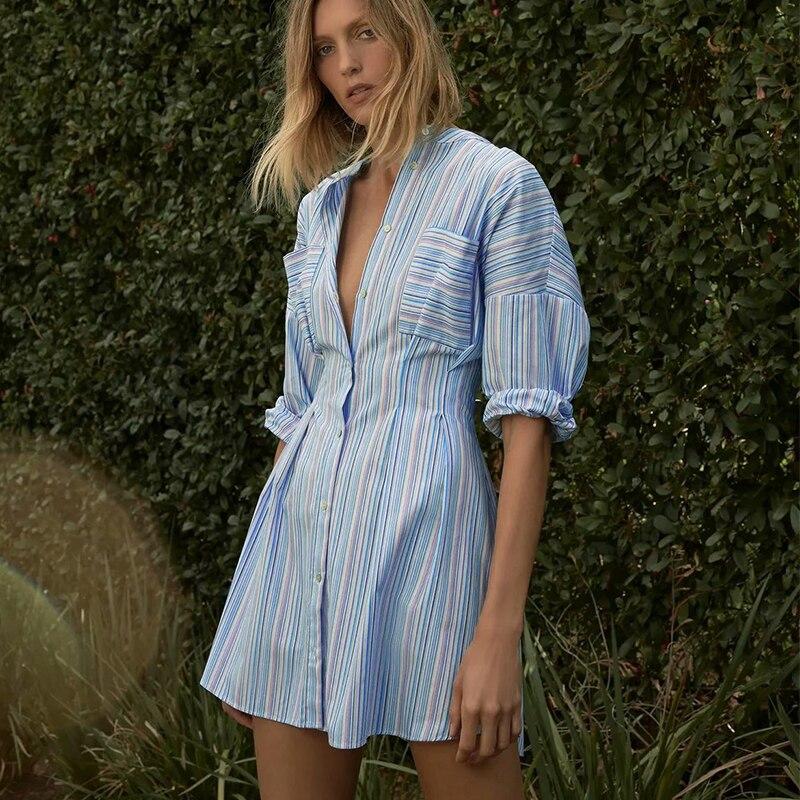 Женское платье в полоску ZA, элегантное офисное платье с круглым вырезом и длинным рукавом, повседневная одежда с двумя карманами для девуше...