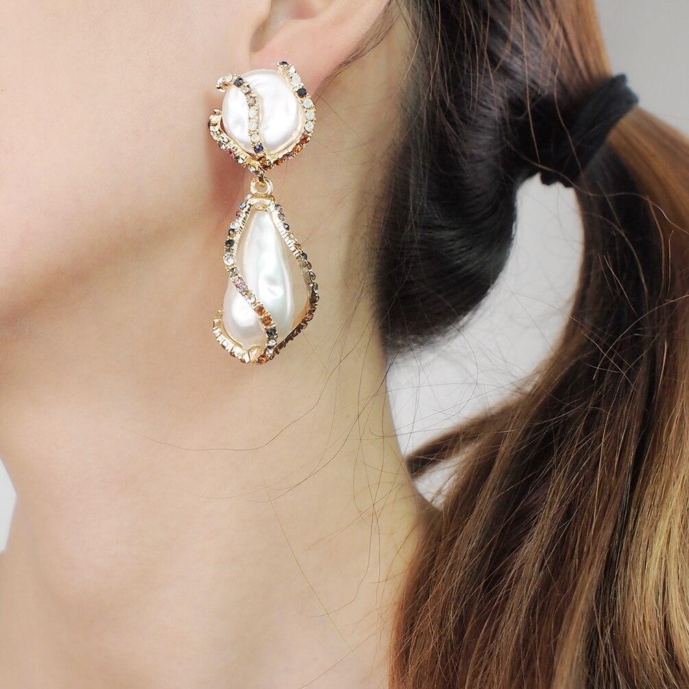 Elegant Rhinestone Feather Dangle Drop Tassel Earrings for Women Jewelry