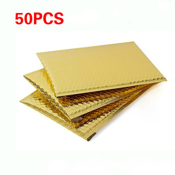 50pc Gold Plating Paper Bubble Envelopes Bags Mailers Padded Shipping Envelope Bubble Mailing Bag Christmas Package Gift Holders