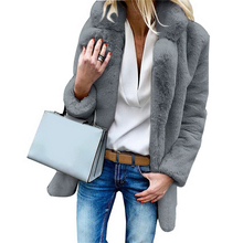 HEFLASHOR 2019 Women Winter Luxury Faux Fur Coats Long Sleev