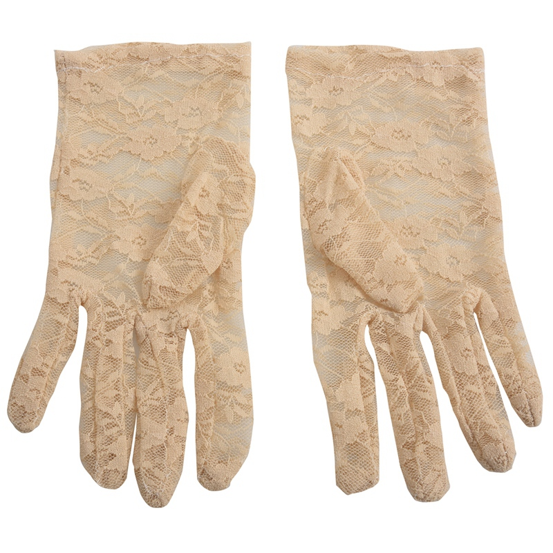 New Elegant Ladies Short Lace Gloves Costume, Available In Beige