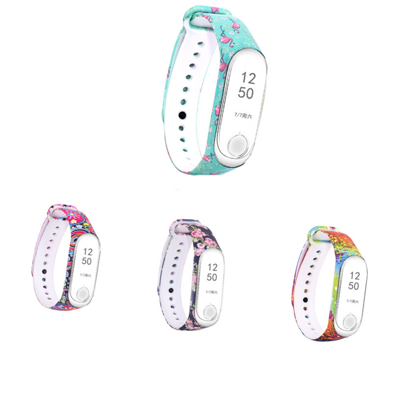 Colorful Flowers For Mi Band 4 Strap Universal Bracelet Replacement For Xiaomi Miband 3 4 Silicone Wrist Strap For Mi 3 Belt