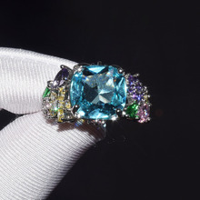 купить Cute Flower Zircon Stone Plant Rings for Women Wedding Engagement Band Promise CZ Fashion Party Jewelry дешево