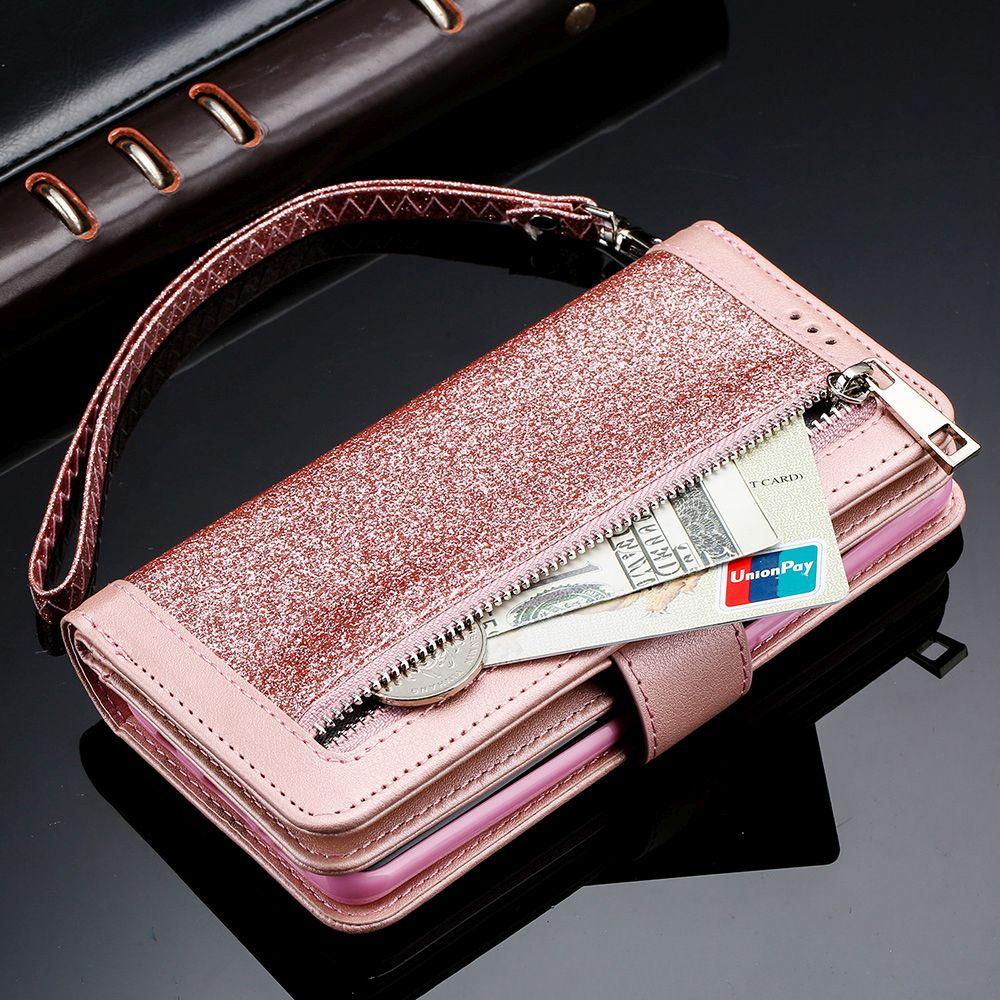 LAPOPNUT porte-carte étui portefeuille à fermeture éclair pour Samsung Galaxy J6 J4 Plus 2018 J5 J3 2017 A8 A6 A70 A50 A40 A20e A10e M10 A10