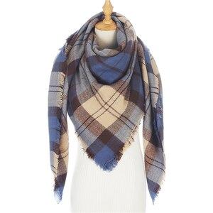 Image 2 - Designer 2020 knitted spring winter women scarf plaid warm cashmere scarves shawls luxury brand neck bandana  pashmina lady wrap