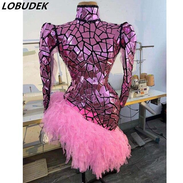 Glitter Pink Sequins Laser Faux Mirror Tassel Dress Women Singer Performer Fashion Stage Wear Birthday Party Nightclub Costume