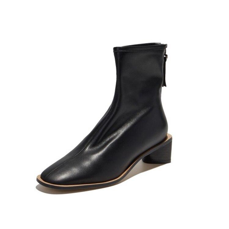 MLJUESE 2020 ผู้หญิงข้อเท้ารองเท้าหนังวัวฤดูหนาวตุ๊กตาสั้นซิปรอบ toe สีดำรองเท้าส้นสูงหญิงรองเท้า party ชุด-ใน รองเท้าบูทหุ้มข้อ จาก รองเท้า บน   3