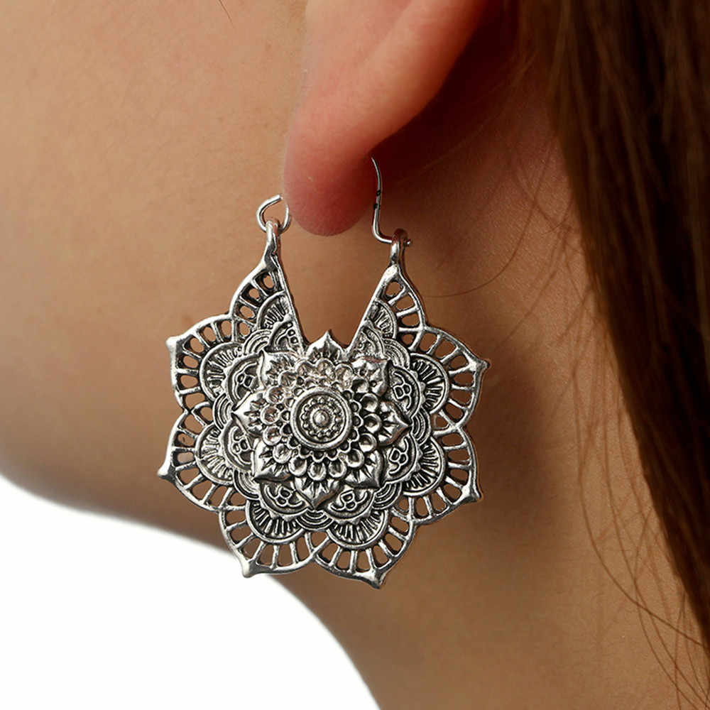 Antique Silver Earrings Gypsy Indian Tribal Ethnic Hoop Dangle Mandala Earrings Bohemian Vintage Flower Alloy Earrings