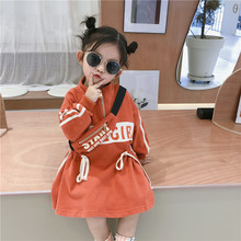 2019 Autumn New Arrival korean style cotton letters printed loose fashion long sleeve hoodie dress for cool sweet babygirls