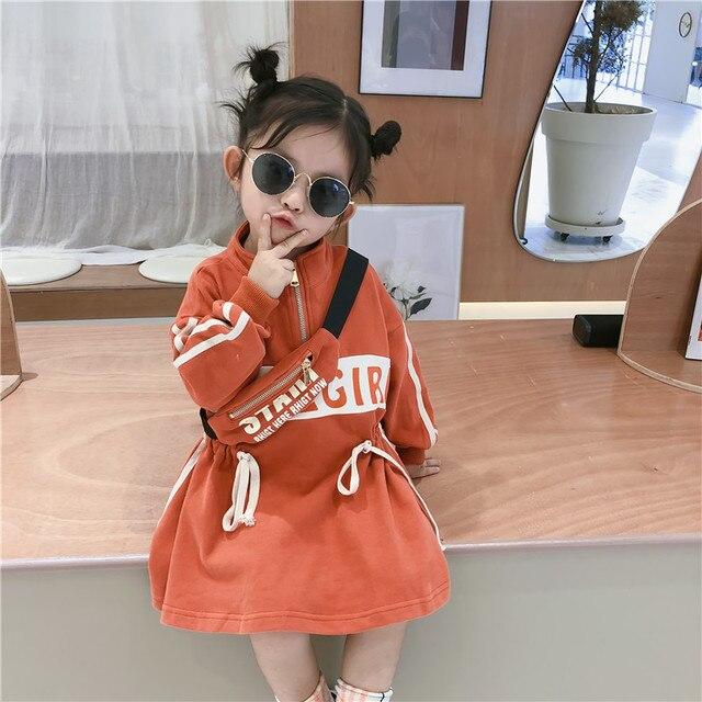 2019 סתיו חדש הגעה קוריאנית סגנון כותנה אותיות מודפס loose אופנה ארוך שרוול הסווטשרט שמלת עבור מגניב מתוק babygirls