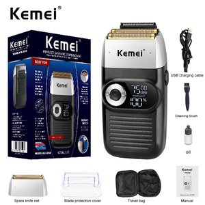 Kemei 2 In 1 Electric Shaver for Men Rechargeable Portable Cordless Men Reciprocating Razor Beard Trimmer LCD Display KM-2026