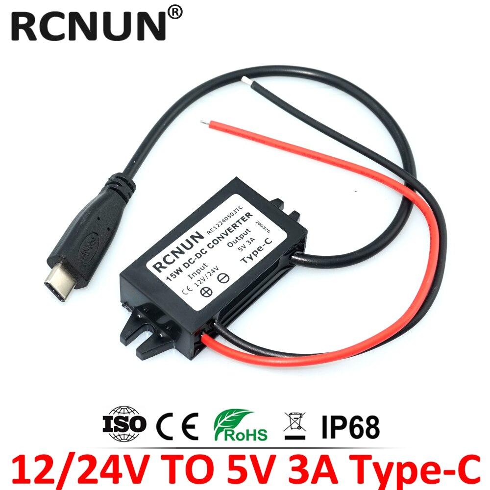 Понижающий преобразователь RCNUN, 8-32 В, 12 В, 24 В в-5 В, 3 А, постоянный ток, 15 Вт, USB Type-C, зарядное устройство для зарядки, мобильный телефон, iPad