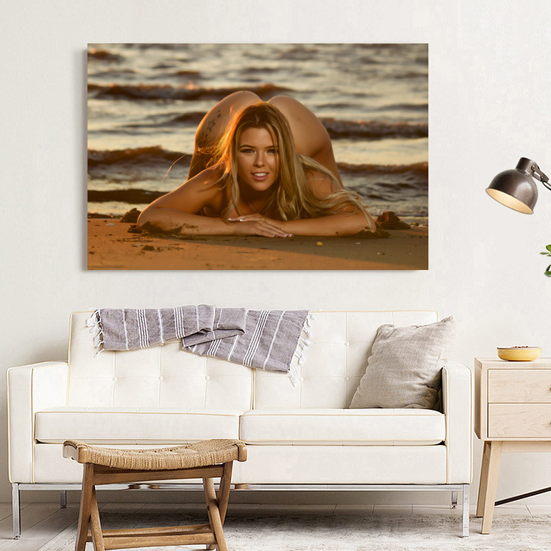 Blonde girl sexy model sea beach photo Decorative paintings Wall Art Posters and Prints Canvas Art For Room Decor 3