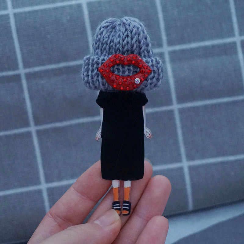 Yüksek kaliteli tasarımlar Model rozetleri için moda broşlar kadın fantezi broş Pins sırt çantası kız hediyeler T-Shirt bez dekorasyon