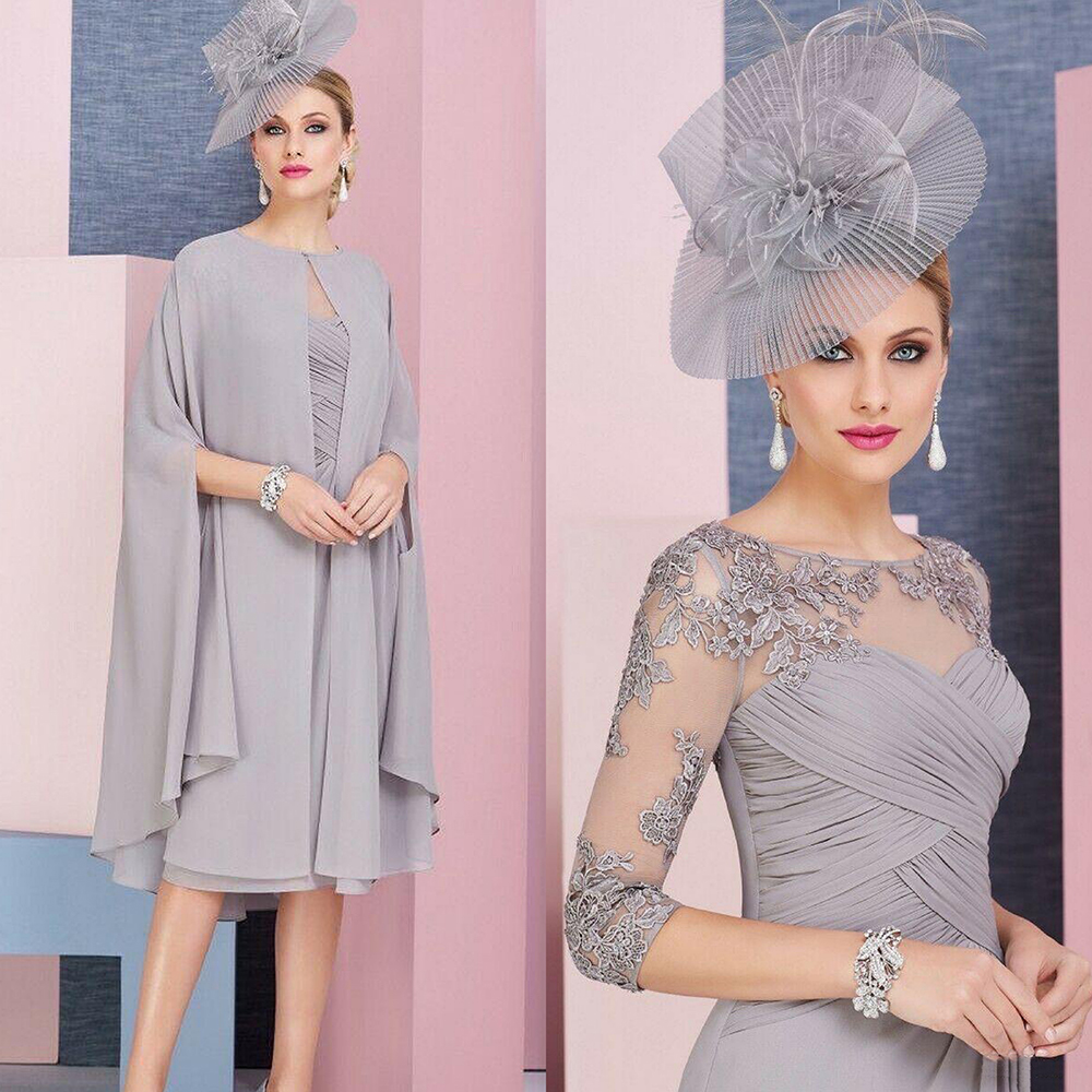 Gray Lace Appliqued Mother Of The Bride groom Dress With Cape Chiffon 2 Pieces Wedding Ceremony Evening Prom Mother Gowns Formal